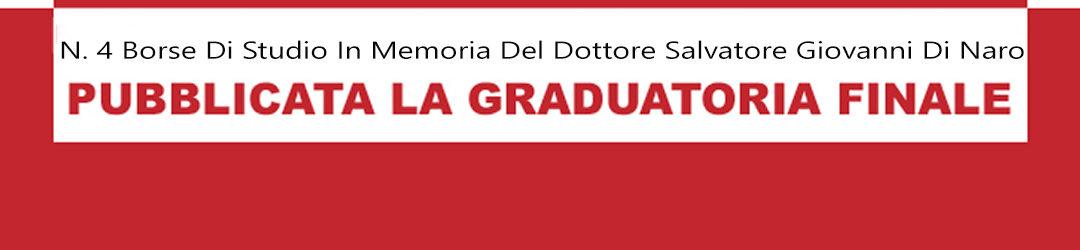 GRADUATORIA PER IL CONFERIMENTO DI N. 4 BORSE DI STUDIO IN MEMORIA DEL DOTTORE SALVATORE GIOVANNI DI NARO